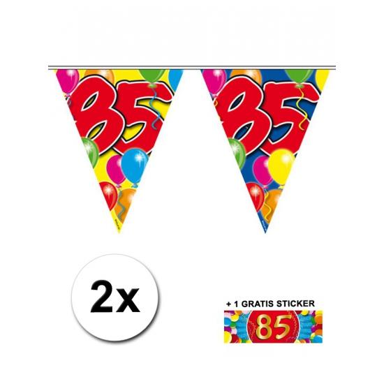 2 x Leeftijd vlaggenlijnen 85 jaar met sticker