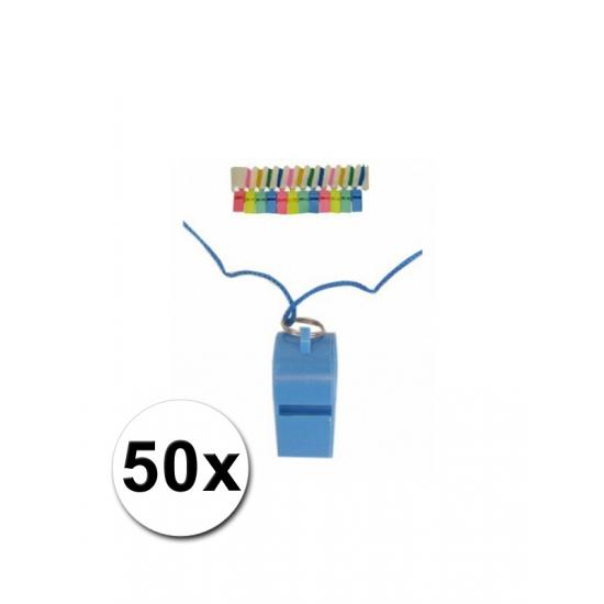 50 plastic fluitjes met koord