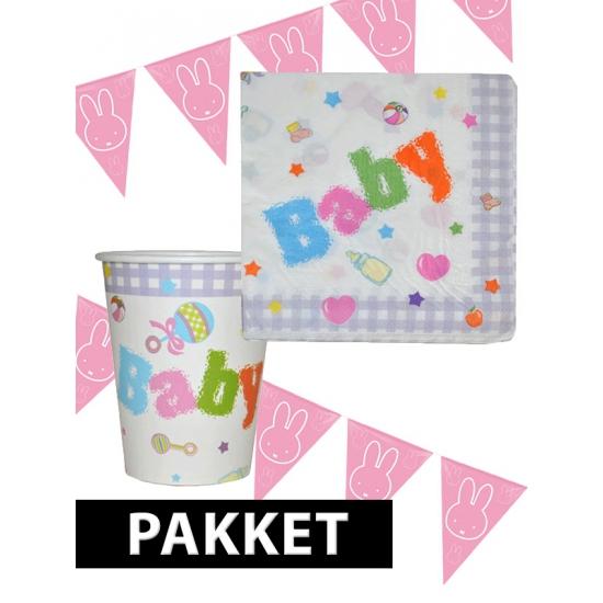 Babyshower versiering pakket roze