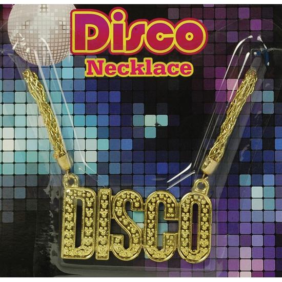 Disco ketting goud. deze gouden ketting is gemaakt van plastic en heeft de tekst disco. geschikt voor ...
