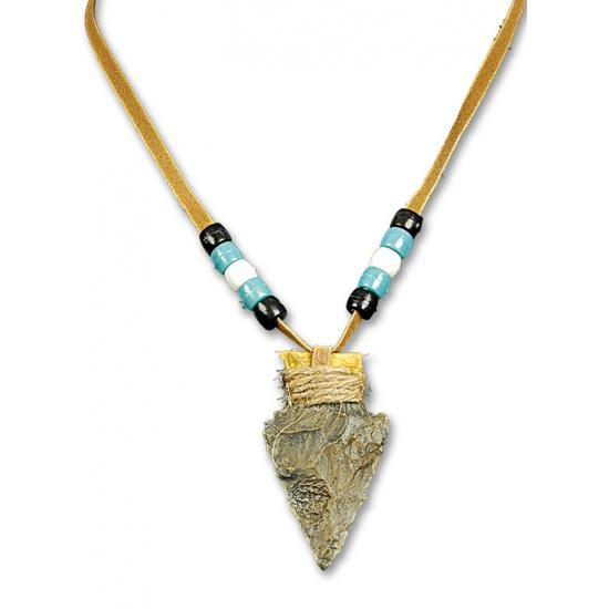 Halsketting met pijlpunt. bruine indianen of holbewoners halsketting met kraaltjes en pijlpunt eraan....
