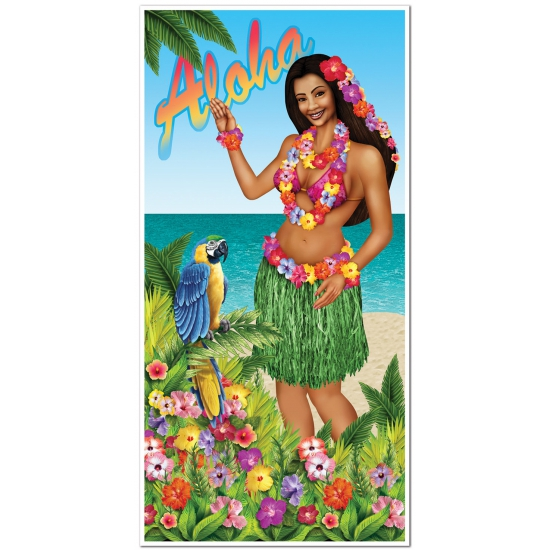 Deurposter Hawaiiaanse dame 76 x 150 cm