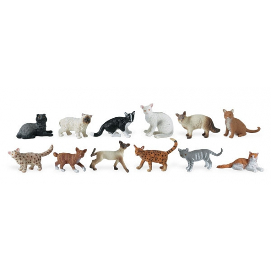 Plastic katten 12 stuks. koker met 12 verschillende soorten raskatten. de plastic katjes varieren van 4 tot ...