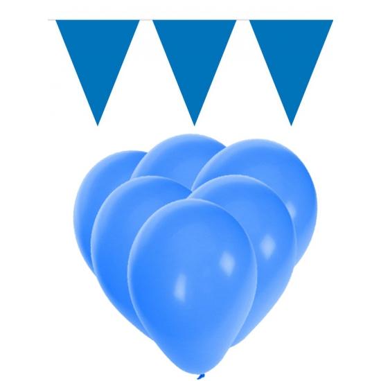 Feestpakket blauw 15 ballonnen met 2 vlaggenlijnen