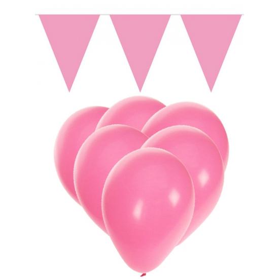 Feestpakket licht roze 15 ballonnen met 2 vlaggenlijnen