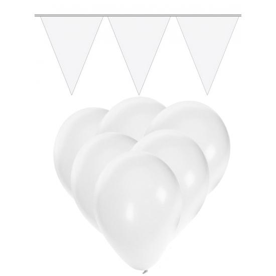 Feestpakket wit 15 ballonnen met 2 vlaggenlijnen