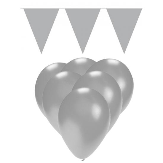 Feestpakket zilver 15 ballonnen met 2 vlaggenlijnen