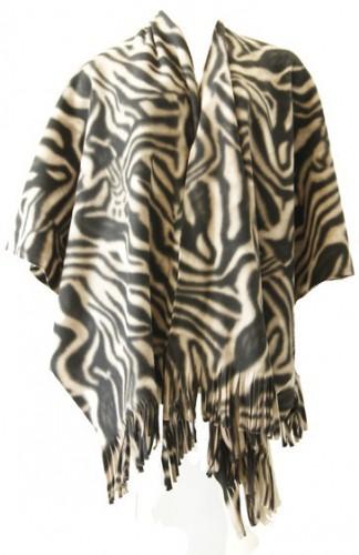 Fleece poncho zebra print