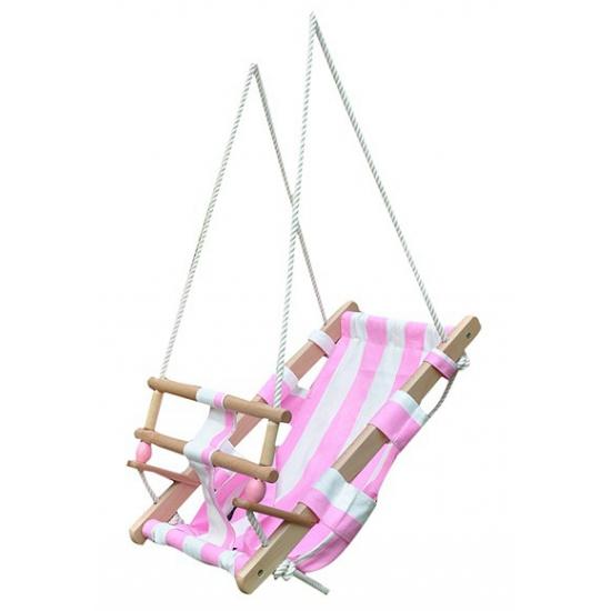 Houten schommel voor peuter wit roze