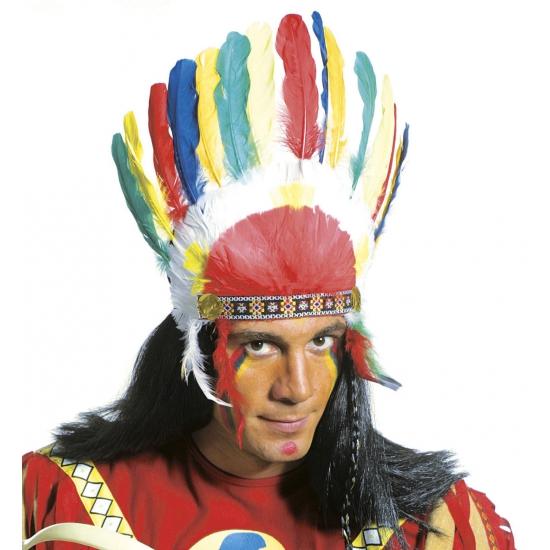 Indianen tooien met gekleurde veren