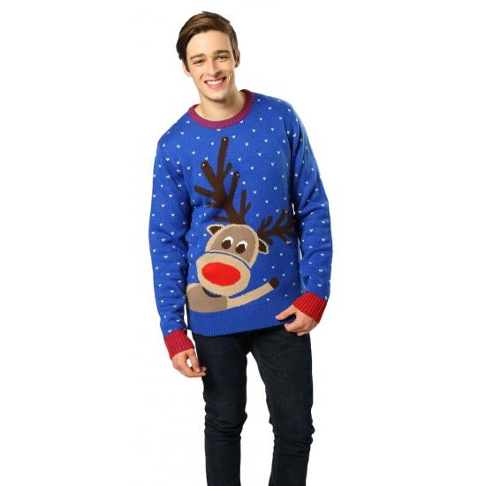 Kerstmis blauwe trui rendier Rudolph