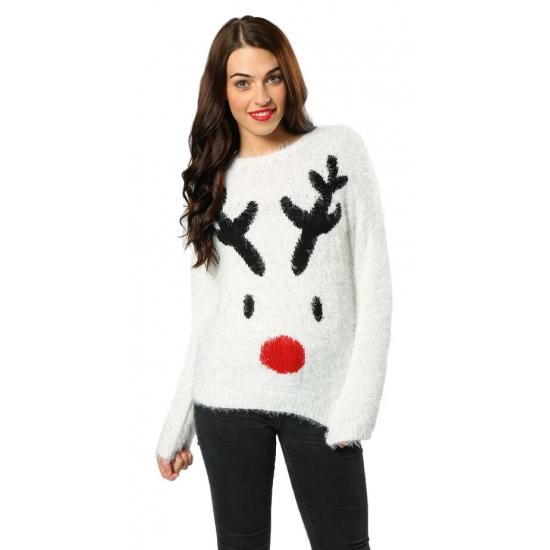 Kersttrui wit met rendier voor dames. witte kersttrui met print van rudolf, het rendier met de rode neus. de ...