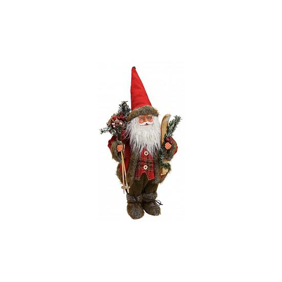 Kerstversiering kerstman met ski 47 cm