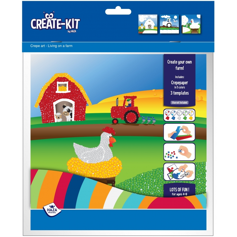 Kleurplaat boerderij met crepepapier