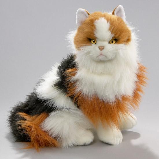 Knuffel zittende kat bont 35 cm
