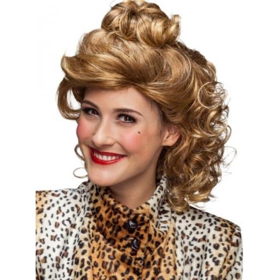 Krullenpruik blond halflang voor dames (bron: Partyshopper)