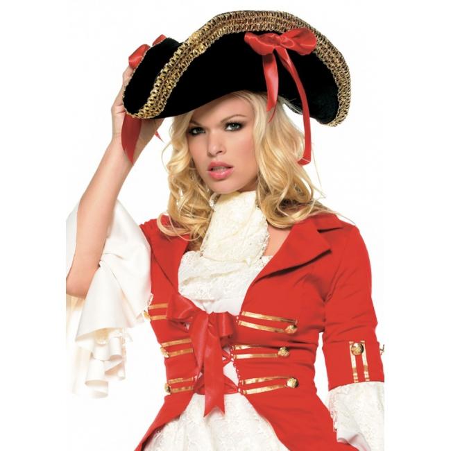 Luxe piraten hoed met rode strikken
