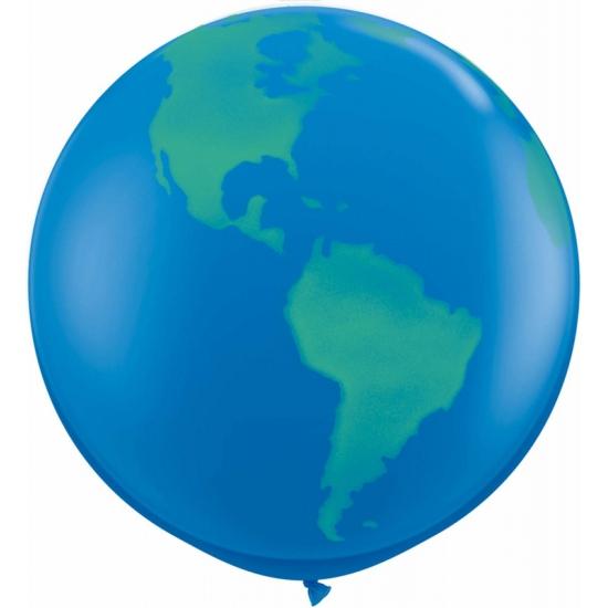 Mega ballon met wereldbol afbeelding 91 cm