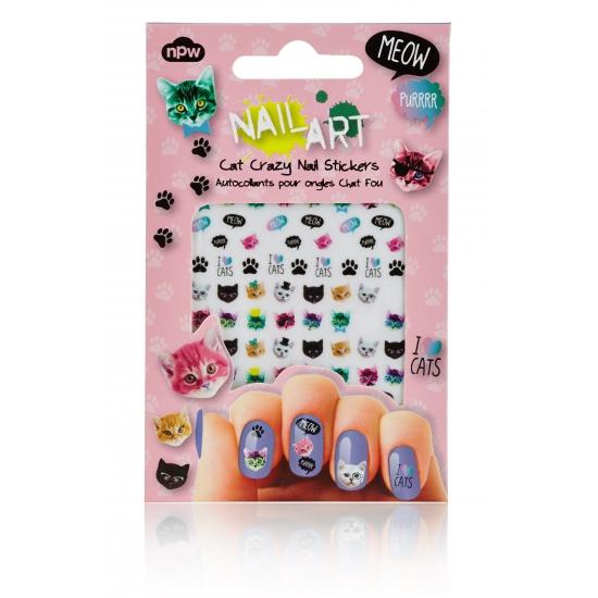 Nagel stickers met katten. de nagel versiering met de afbeelding van katten is gemakkelijk aan te brengen op ...