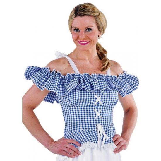 Oktoberfest blouse Carmen blauw geruit