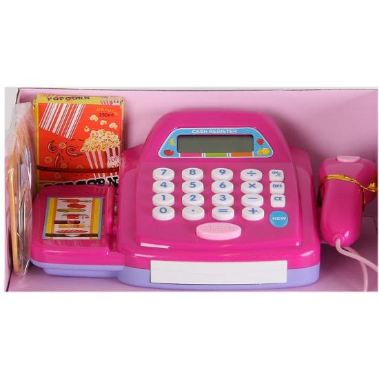 Paarse kassa speelset met boodschappen en display