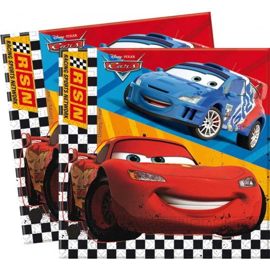 Cars servetten 20 stuks. deze papieren servetten met plaatjes uit de bekende disney film: cars. formaat ...