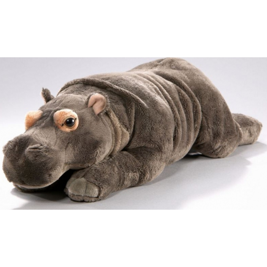 Pluche knuffeldier nijlpaard grijs 42 cm