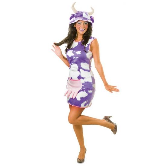 Pluche koeien jurk lila