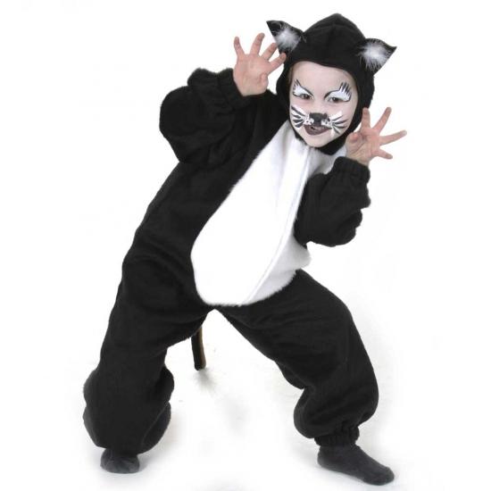 Zwarte kat kostuum voor kinderen. pluche katten kostuum in de kleur zwart met een witte buik.