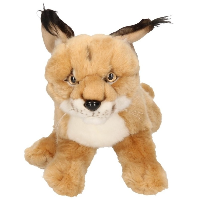 Pluche zittende Lynx knuffel 28 cm
