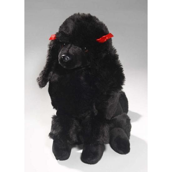 Pluche zittende Poedel knuffel hond zwart 30 cm
