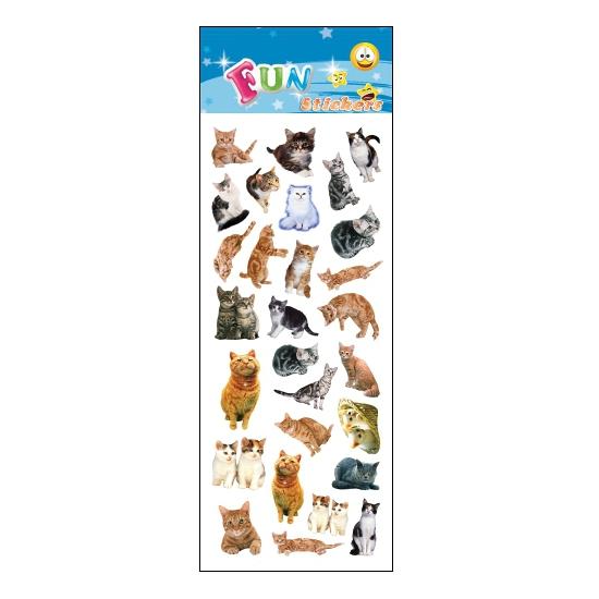 Stickervel katten. een stickervel vol met leuke stickers van katten. het vel bevat ongeveer 28 katten ...