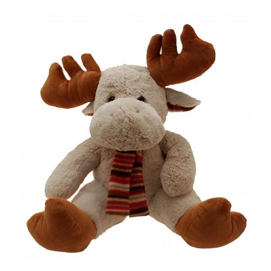 Pluche rendier knuffel met sjaal. warme winter knuffel in de vorm van aan schattig rendier met een sjaal om ...