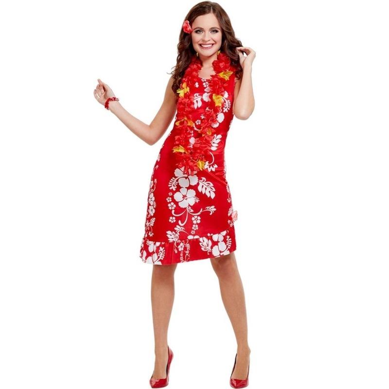 Rode Hawaii jurken met accessoires