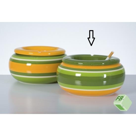Ronde asbak groen/geel 23 cm