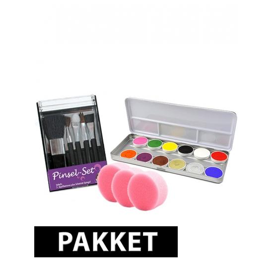 Schmink set met 12 kleuren met kwastjes en sponsjes