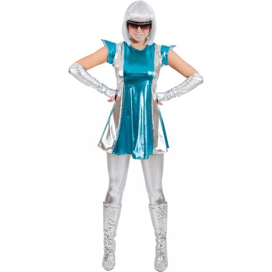 Space verkleed pakje blauw/zilver voor dames