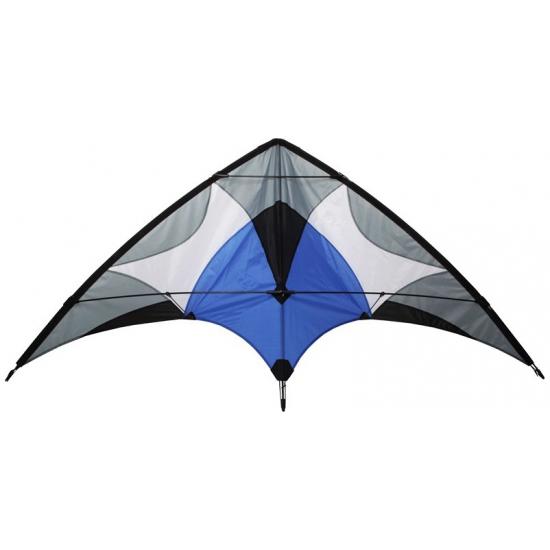 Stunt vlieger 2 liner grijs met blauw 165 x 80