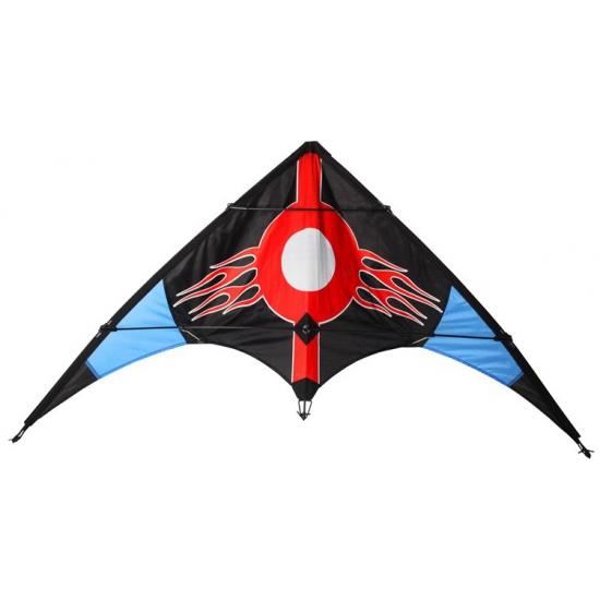 Stunt vlieger 2 liner zwart rood 115 x 50