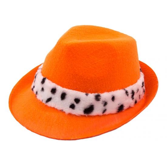 Trilby hoed oranje met hermelijn band
