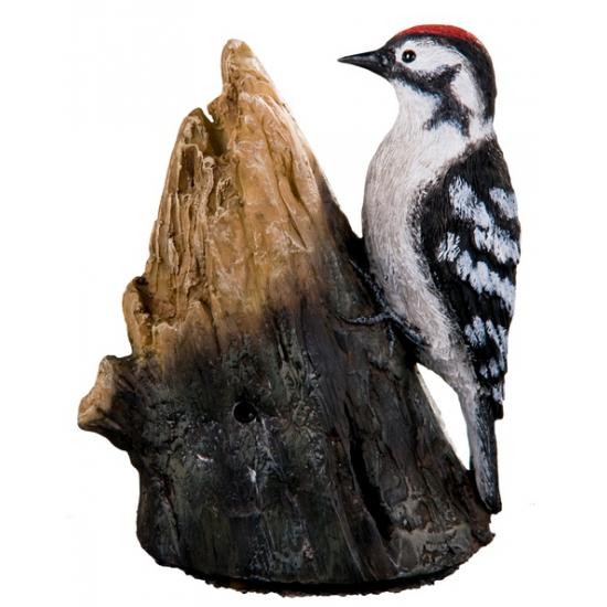 Tuin decoratie vogel grote bonte specht met geluid12,5 cm