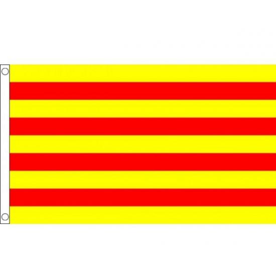 Vlag Catalonie met ophangringen 90 x 150 cm