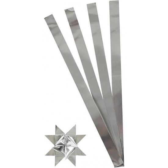 Vlechtstroken van papier zilver 73 cm