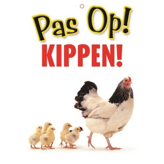 Waakbord pas op Kippen
