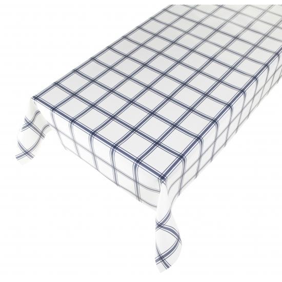 Wit tafellaken met blauw ruit motief 140 x 240 cm