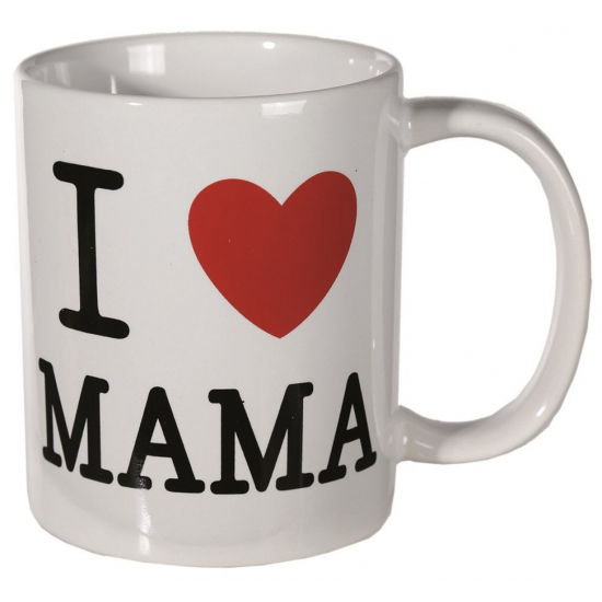 Witte mok I love mama