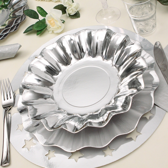 Zilveren diepe barbecue borden 27 cm