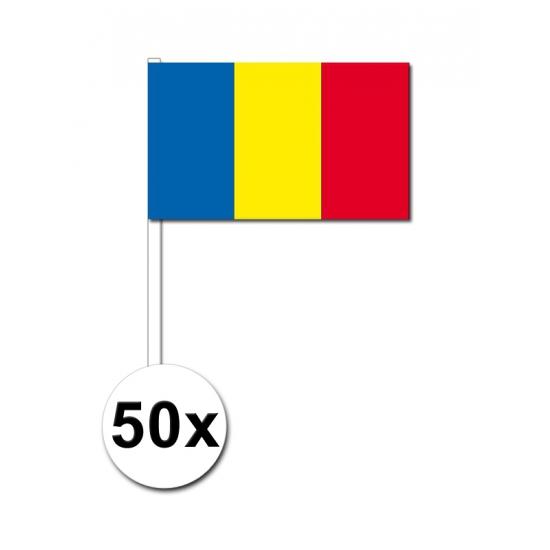 Zwaaivlaggetjes Roemenie vlag 50 st