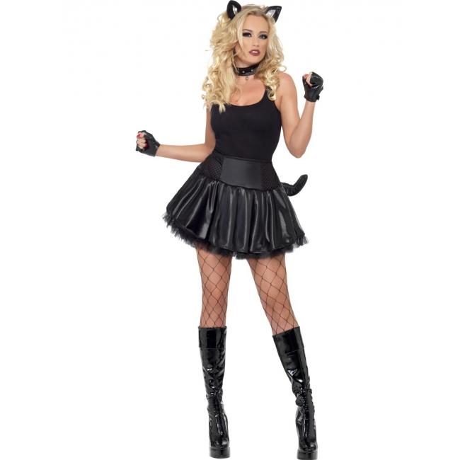Party poes kostuum voor dames. zwart sexy poezen jurkje met tutu, nekband en oren.