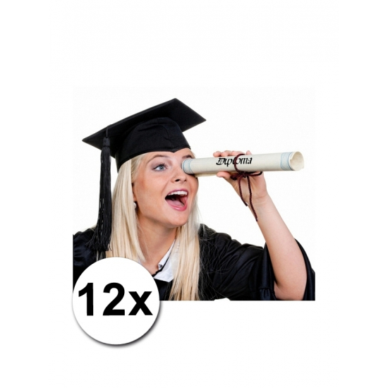 Zwarte diploma hoedjes 12x